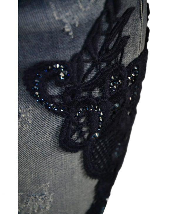 Джинсы Blumarine синие с вышивкой и камнями