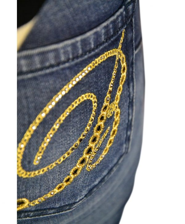 Джинсы Blumarine темно-синие с вышивкой на кармане