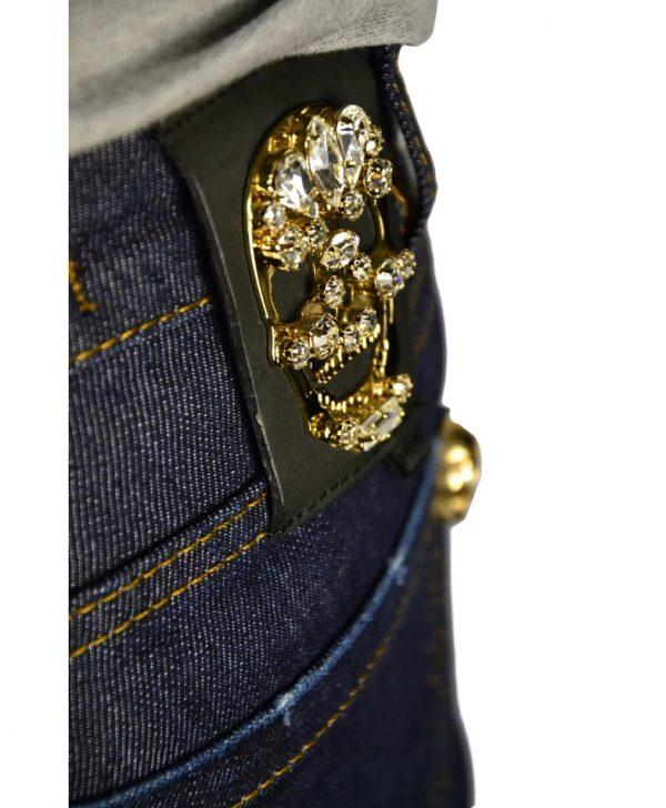 Джинсы Philipp Plein темно-синие с клепками-черепами