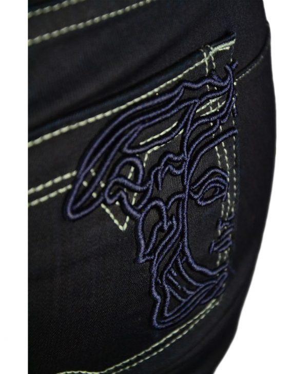 Джинсы Versace темно-синие с фирменной вышивкой