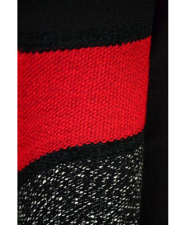 Кардиган Sandro Ferrone черный с белой рябью и красной полосой
