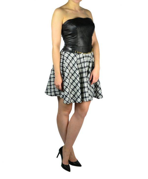Платье Gil Santucci черный кожаный верх твидовый черно-белый низ