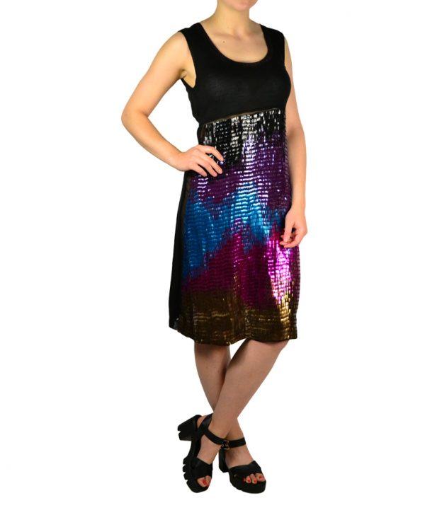 Платье Maria Grazia Severi черное с завязкой сзади и пайетками