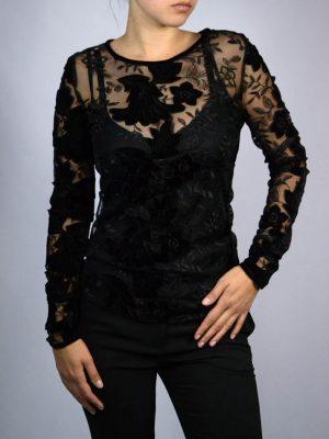 Блуза Tenax черная сетка с вышивкой и велюром