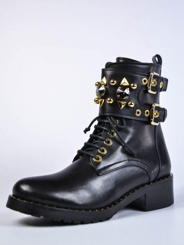 Ботинки Baldan черные кожаные на шнуровке с декоративными элементами