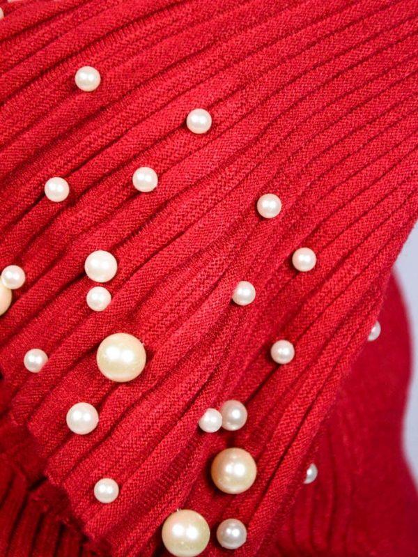 Кофта Roberta Biagi красная трикотажная с жемчугом