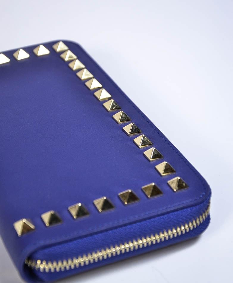 03929e71d884 Кошелек Mela D'oro синий с золотыми клепками - цена 2400 рублей, арт ...
