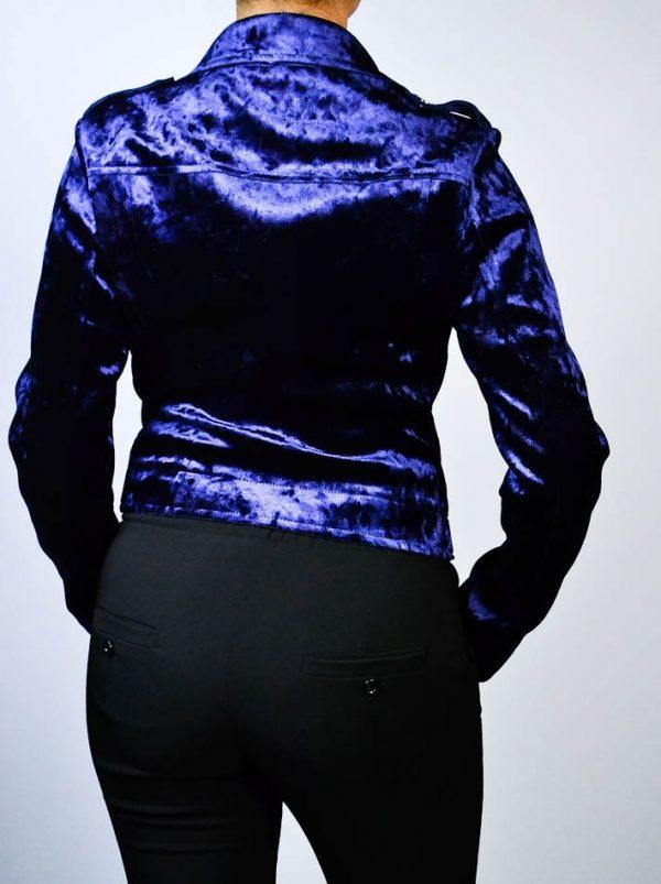 Куртка Imperial темно-синяя велюр с клепками и замками