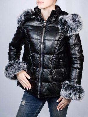 Куртка Le Group черная кожаная с мехом