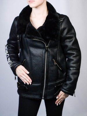 Куртка Mary D'aloia черная кожаная с вышивкой и декоративными элементами
