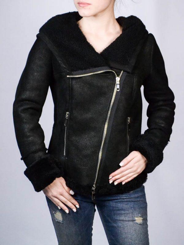 Куртка Tenax черная кожаная с капюшоном