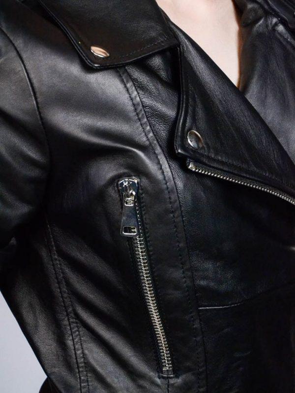 Куртка Tenax черная кожаная с косым замком