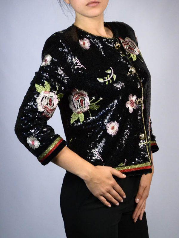 Пиджак Eureka черный с вышивкой и пайетками