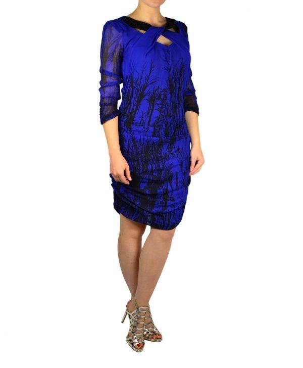 Платье Angelo Marani синее с черным принтом и пайетками