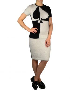 Платье Angelo Marani черно-белое с принтом