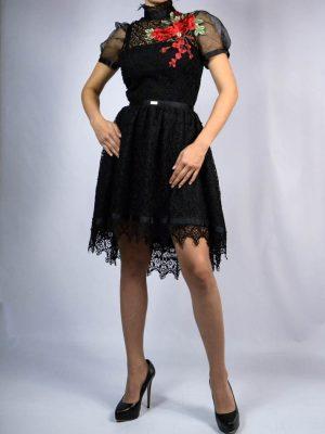 Платье Eureka черное кружевное с вышивкой