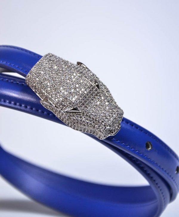 Пояс Class Cavalli синий с камнями