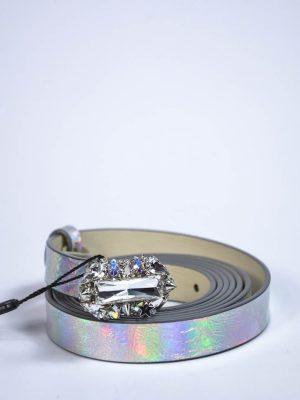 Пояс Philipp Plein серебряный с голографией и камнями