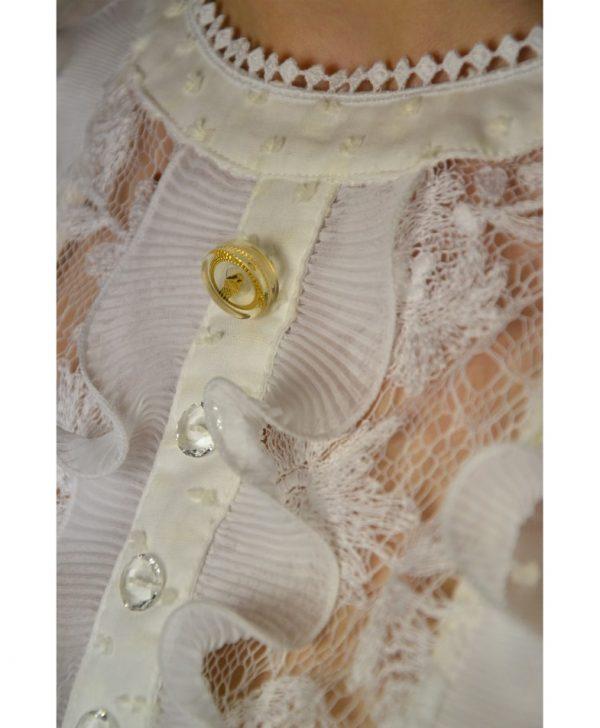 Рубашка Class Roberto Cavalli белая с кружевом и декоративными пуговицами