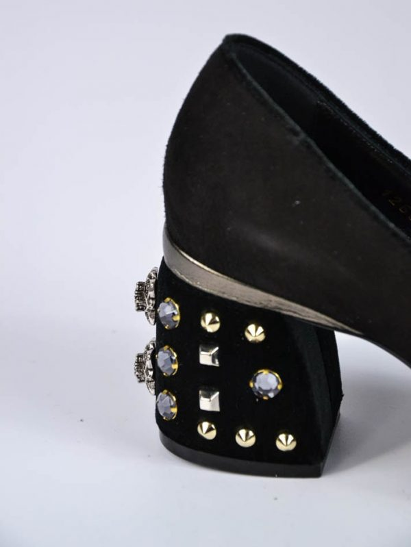 Туфли Baldan черные замшевые с камнями на каблуке