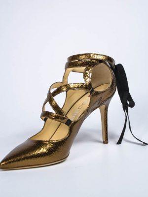 Туфли Ballin бронзовые плетёные с завязкой