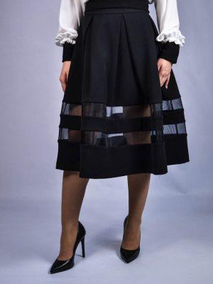 Юбка Paolo Casalini черная с вставками из черной сетки