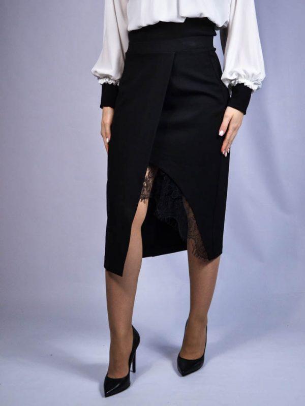 Юбка Paolo Casalini черная с разрезом и гипюром