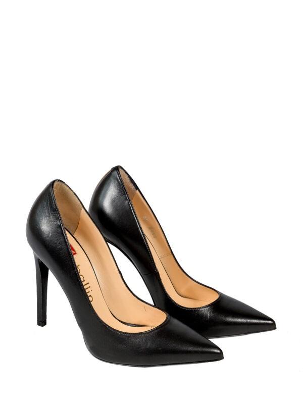 Туфли Ballin черные на высоком каблуке с золотой полосой