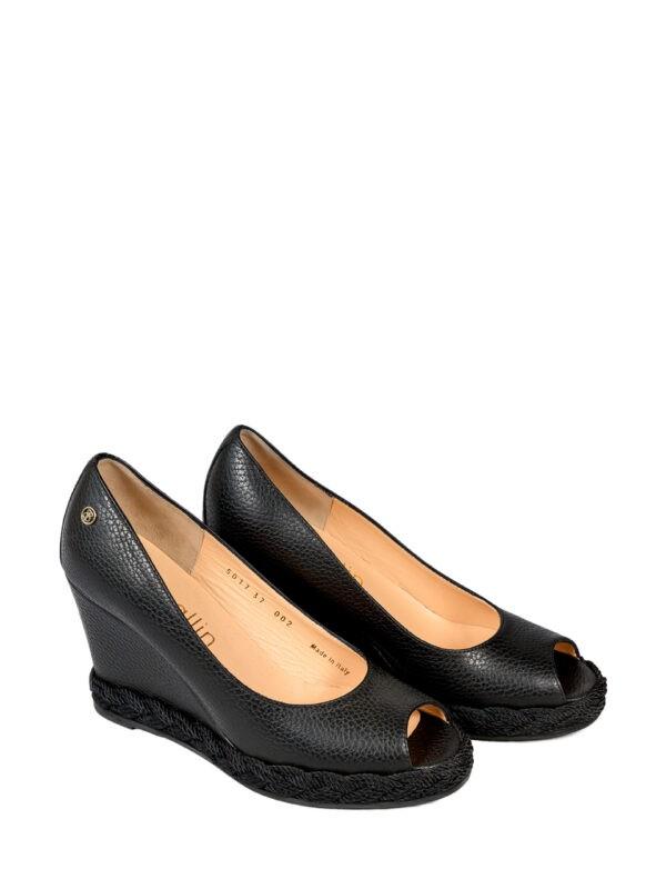Туфли Ballin черные на платформе с плетением-косичкой