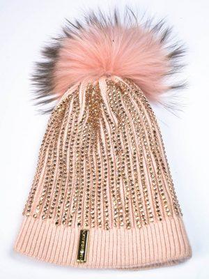 Шапка Mondana персикового цвета с россыпью камней и бубоном
