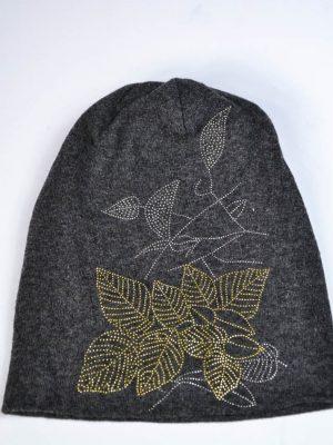 Шапка Mondana темно-серая с рисунком из камней