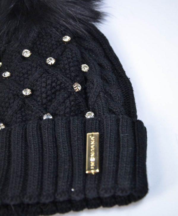 Шапка Mondana черная вязаная с камнями и бубоном