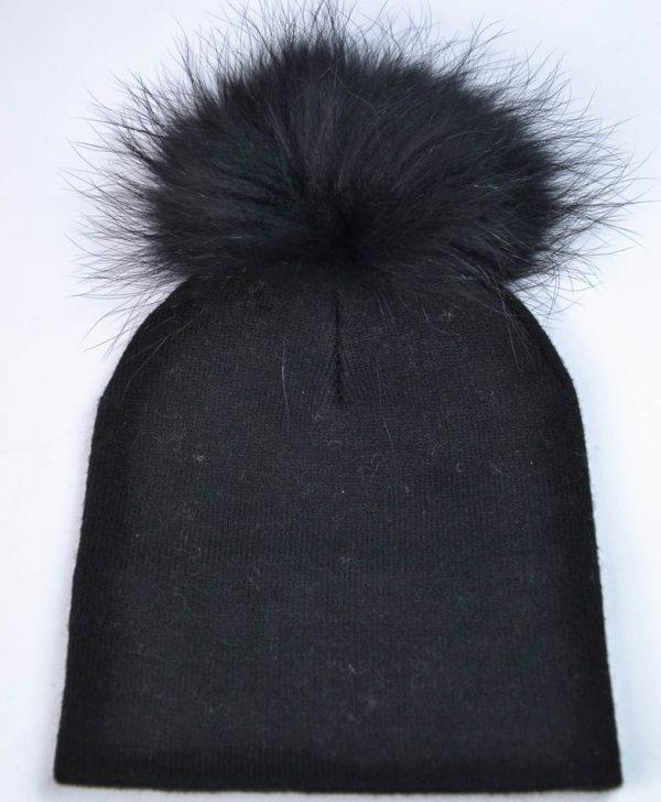 Шапка Mondana черная полоской из камней и бубоном