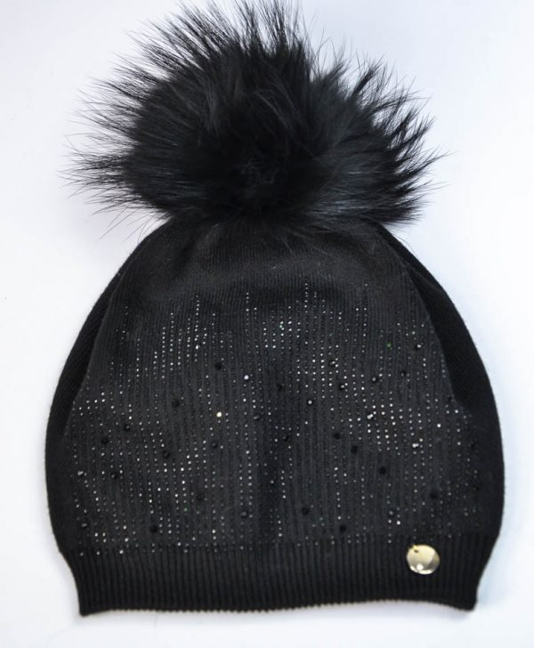 Шапка Mondana черная с россыпью камней и бубоном