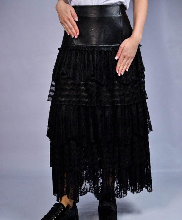 Юбка Tenax черная с гипюром и кожаным верхом