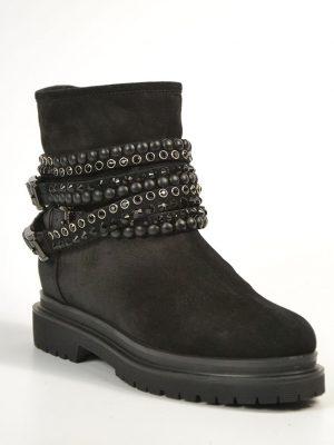 Ботинки Baldinini черные замшевые с ремешками с камнями и клепками внутри серый мех