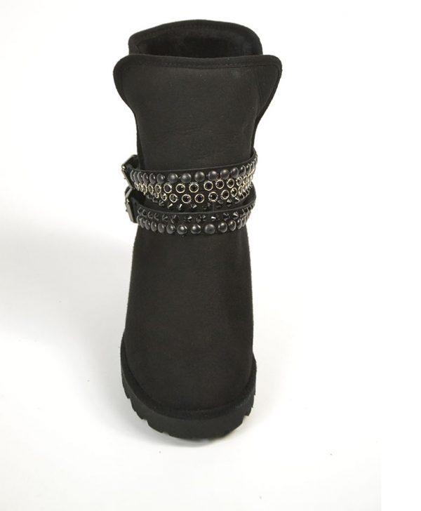 Ботинки Baldinini черные замшевые с ремешками с камнями и клепками