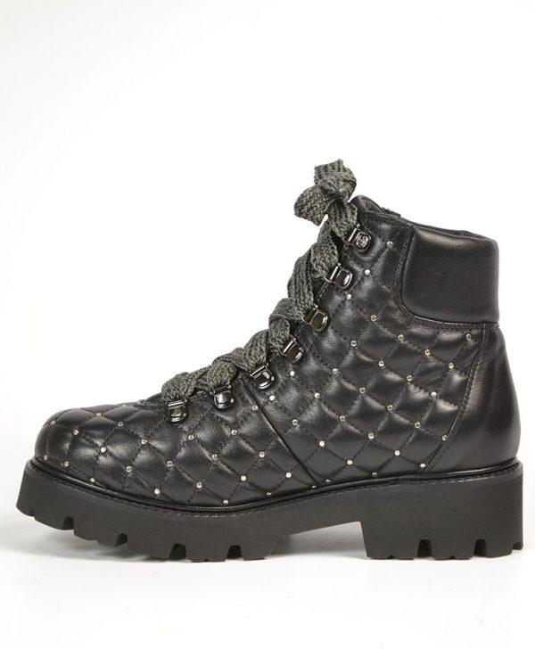 Ботинки Baldinini черные кожаные стеганые с клепками на серых шнурках
