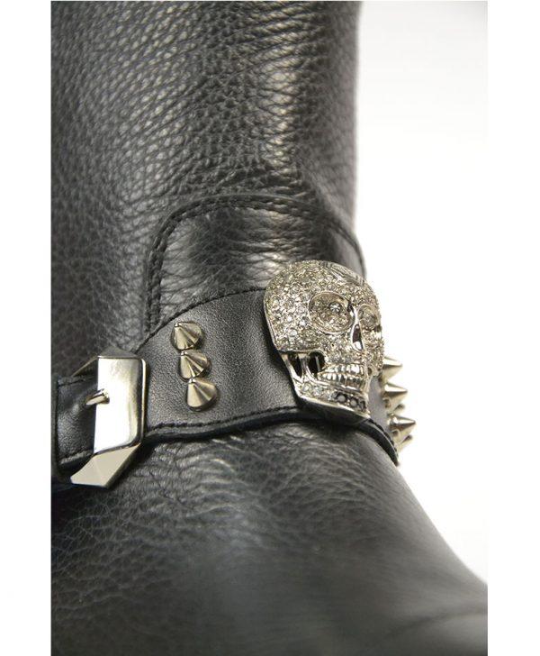 Ботинки Philipp Plein черные кожаные с пряжкой шипами и черепом