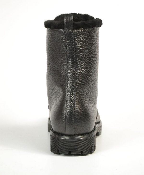 Ботинки Philipp Plein черные на шнуровке с мехом и черепом