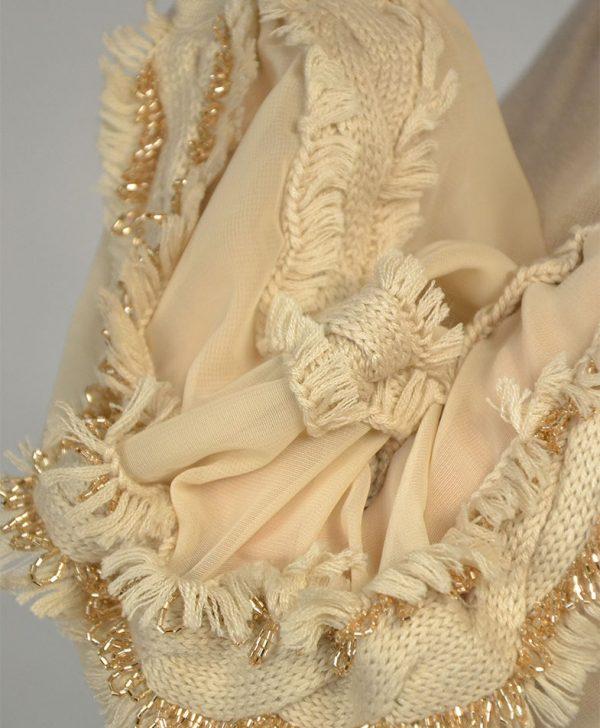 Кофта Maria Grazia Severi бежевая с шелковыми рукавами с бахромой и бисером