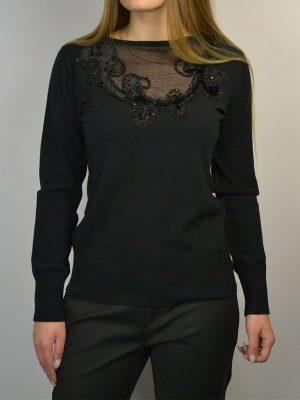 Кофта Maria Grazia Severi черная верх сетка бархатный узор бисер