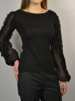 Кофта Maria Grazia Severi черная с шелковыми рукавами бахромой и бисером