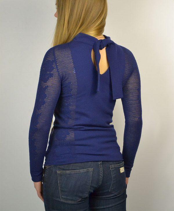 Кофта Twin-Set  синяя вязанная сзади на завязках