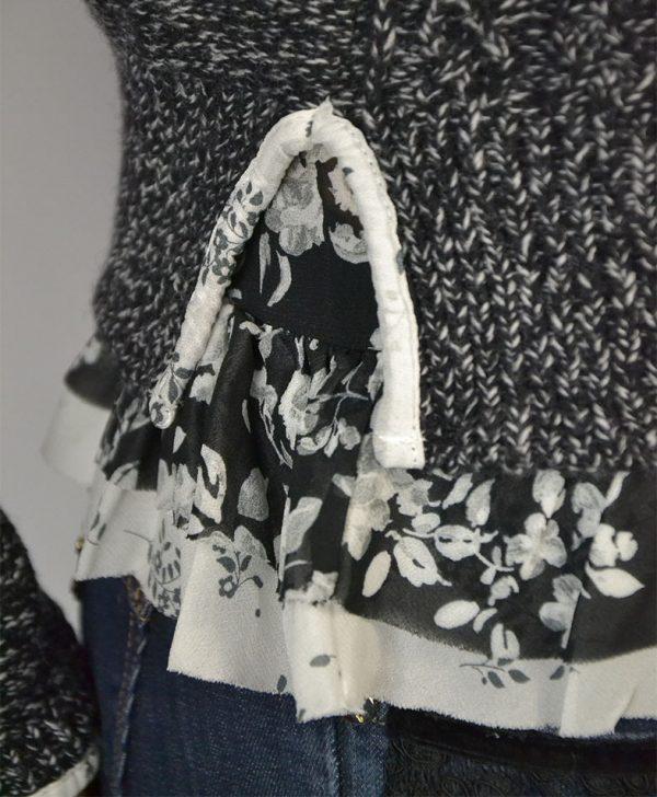 Кофта Twin-Set черно-белая вязанная топ шелковый в цветы