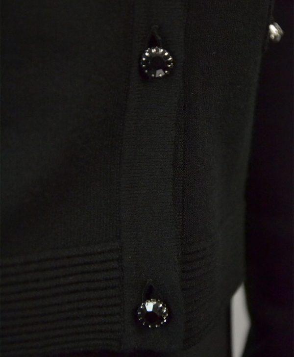 Кофта VDP черная на декоративных пуговицах имитация карманов