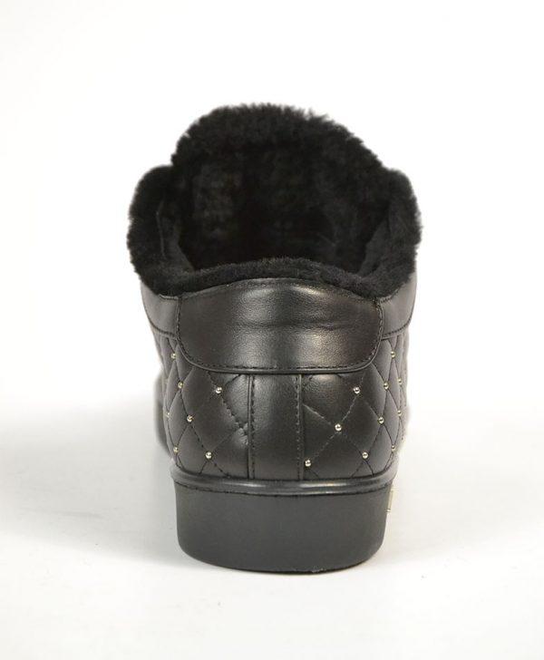 Кроссовки Philipp Plein черные кожаные стеганые с мехом и черепом
