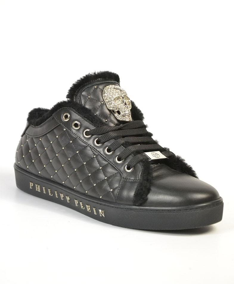 048b4651 Кроссовки Philipp Plein черные кожаные стеганые с мехом и черепом ...
