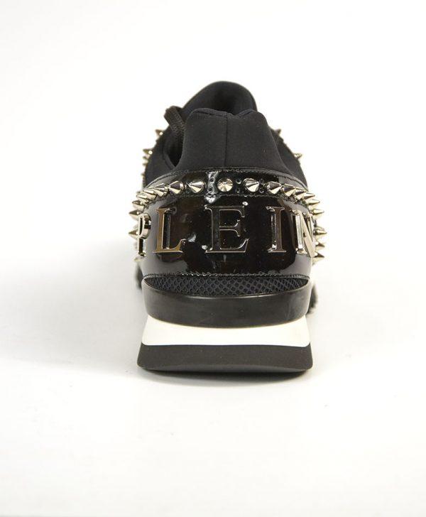 Кроссовки Philipp Plein черные с шипами сетка лак
