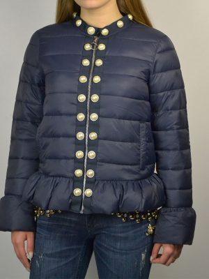 Куртка Twin-Set синяя стеганая с крупным жемчугом вдоль замка